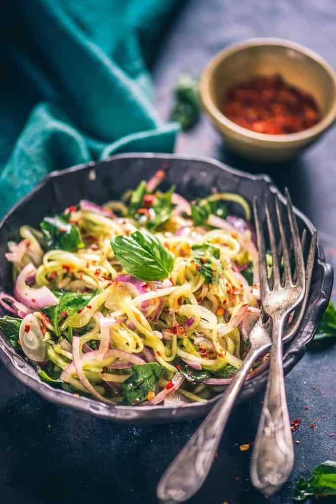 Asian Basil Cucumber Salad