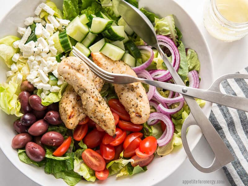 Add some Armenian Cucumbers to this simple grilled chicken salad with lemon recipe