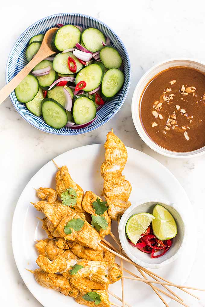 Spicy Peanut Chicken Satay with Cucucumber