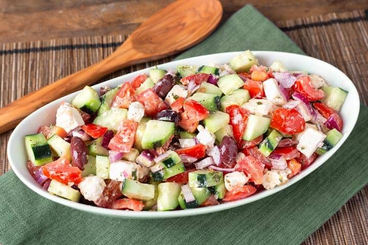 Cucumber Tomato Feta salad.  Replace your ordinary cucumbers with delicious Armenian Cucumbers