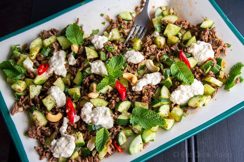 Spicy beef & cucumber Salad