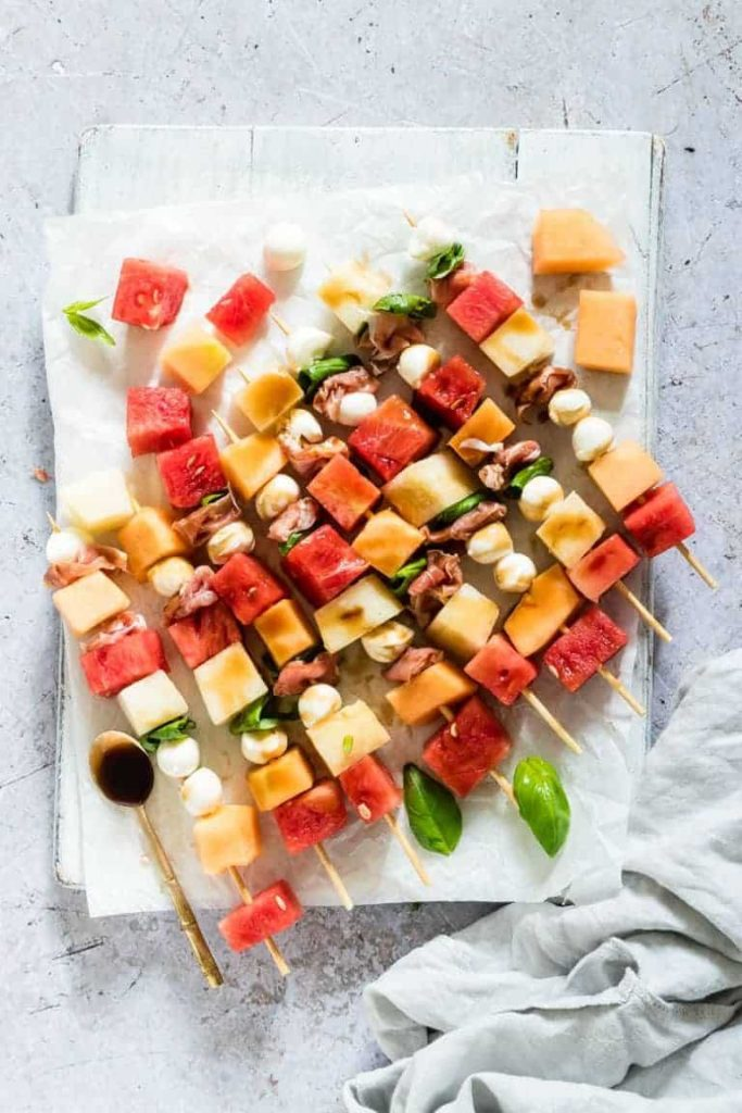 Watermelon & Cantaloupe Skewers